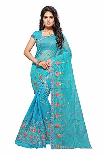 S. Kiran's Women's Supernet Blue Chador Chanderi Mekhela - Mekhla Chadar -...