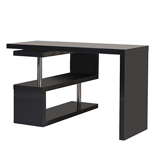 Homcom scrivania di design per computer con ripiani nero