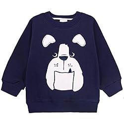 CuteOn Niños Para niños Sweatshirt Navidad Algodón Tops Manga larga Jumper Pull-over Camisa Azul real Pug 5 Años