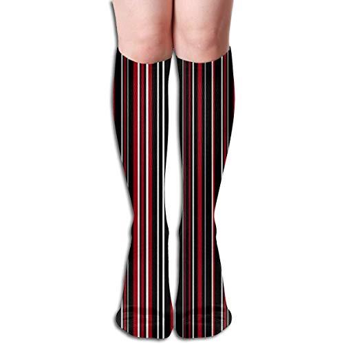 Generic Schwarz, Dunkelrot Und Weiß Barcode Streifen Frauen Rohr Kniehohe Strümpfe Cosplay Socken 50 cm (19,6 zoll)