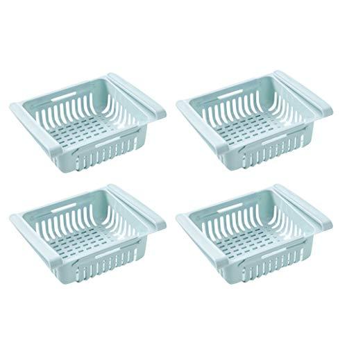 Einstellbare Lagerregal Kühlschrank Partition Layer Organizer, ausziehbare Kühlschrank Schublade Organizer, Kühlschrank Aufbewahrungsbox (4PC, Blau)