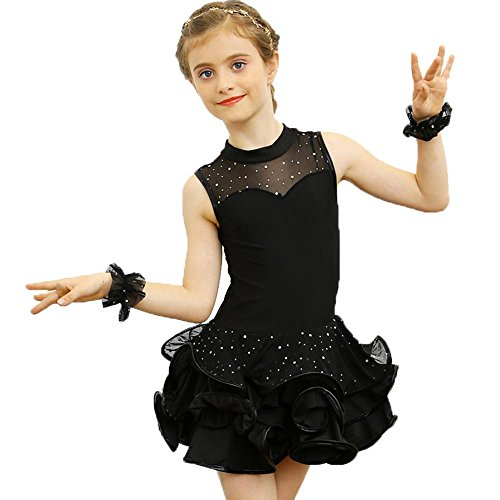 YI WORLD Kind Lateinischer Tanz Kleidung Mädchen Spitze lange kurz Hülse tanzen Kleid schwarz rot Gelb Rosa , black , (Zeitgenössischer Kostüm Tanz Stück 2)