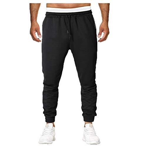 Frühling und Sommer Herren einfarbig Gummiband Tasche Prise Sporthosen Solid Color Elastic Band Pocket Sports Pants Schwarz M/L/XL/XXL/3xL/4xL/5XL