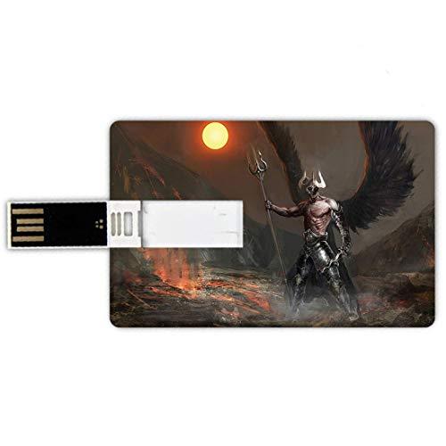 64gb chiavette usb a forma di carta di credito mondo di fantasia memory card stile carta di credito cavaliere con ali piume angelo diavolo luna fuoco fantasia notte illustrazione,blu bianco e viola, p
