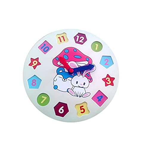 PANNIUZHE Kids Wooden Watch Puzzle Toys Cognitive Digital Clock Digital Block Numbers Shape Sorting Sorter Intelligent Toys for 2 years old (22*22*0.6cm)