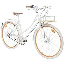 "Fabric City Bicicleta de Paseo- Bicicleta de Mujer 28"" con Cesta, Cambio Interno Shimano 3V, 5 Colores, 14kg (White Whitechapel Deluxe)"