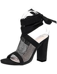 Sandalias mujer, ❤️ Manadlian Sandalias con cordones para mujer Tacones altos de malla de tobillo Bloquear Zapatos de fiesta (CN:41, Negro)