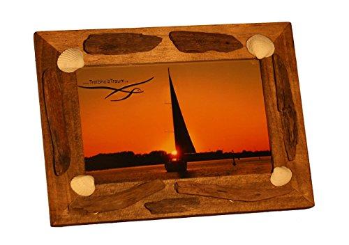 Holz Bilderrahmen BALTIC BEAUTY von Treibholztraum Unikat mit Gravur personalisiert 10 x 15 cm, 13 x 18 cm oder 19 x 24 cm Holzrahmen Altholz - in Handarbeit aus Schwemmholz vom Strand mit Scheibe