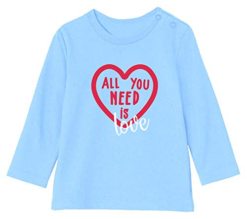 St Valentin All You Need is Love T-Shirt Bébé Unisex Manches Longues 12-18M 76/89cm Bleu Ciel