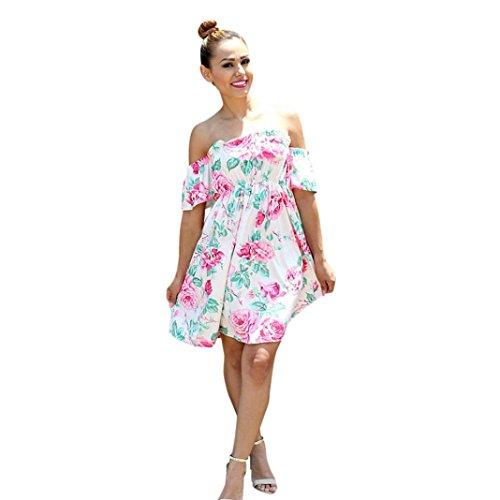 für Mädchen und Frauen, Sommerkleid, schulterfrei, mini-Rock, White(Mom), S (Strampelanzug Zu Tragen Anzug)