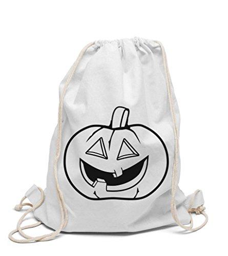 Turnbeutel zum selbst gestalten Kinderrucksack Halloween Kürbis zum bemalen und ausmalen für Kindergarten und Hort