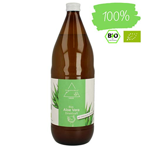 ingenious nature® Bio Aloe Vera Direktsaft - 1 Liter in Glasflasche, max. 1200mg/l Aloverose
