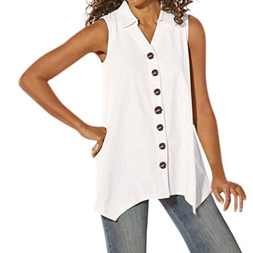 Watopi Frauen ärmellose Bluse Shirt sexy Feste Sommer Knopf Bluse Top (Harry Potter Lego-sets Billig)
