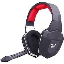 EasySMX HUHD 2.4 GHz Auriculares Inalámbrico Gaming Headset para Xbox 360/ Xbox One/ PS3/ PS4 con Micrófono Desmontable USB 2.0 Batería Recargable (Si usa con Xbox One, Se Necesitan un Adaptador de Microsoft o Kinect )