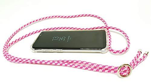 Pink Cinnamon Handykette mit Smartphone Hülle Handmade Handyhülle Carry Case Handy-Band Handy-Seil Handy-Tasche Necklace für Samsung Galaxy S9 Band: Pink Ribbon, Metallteile: Silber -