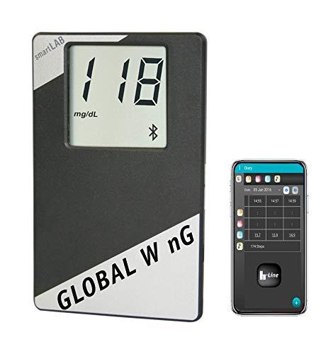 smartLAB global W nG Blutzuckermessgerät Set mit Teststreifen | mit ANT+ u Bluetooth Smart | Blutzucker messen mit Übertragung an hLine App | NUR mit smartLAB nG Teststreifen
