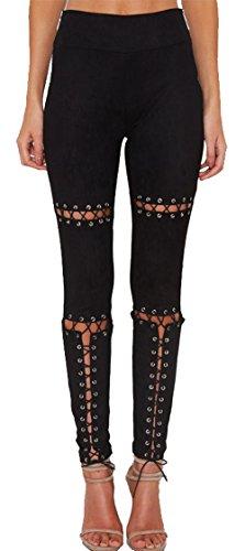 ALAIX Damen Bleistiftförmige elastische Lace-Up Hochbund-und Röhrenhose aus Veloursleder Schwarz-M
