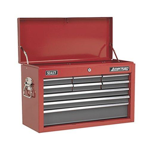 Sealey AP22509BB - Baúl de herramientas con 9cajones con guías deplegables, color: rojo y gris