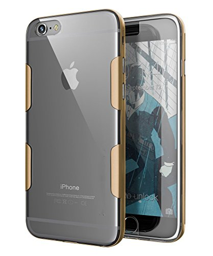 Kapa Metal Frame + Transparent TPU Luxury Back Case Cover for iPhone 6 6S - Gold