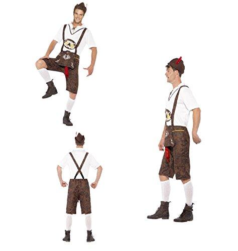 Bayerische Brad Wurst Fancy Kleid Kostüm mit Braun Lederhosen Shorts, Ein Hemd und Hat/Hirsch Do/Bier Festival/Bayerische Night/Oktoberfest (Deutsches Bier Festival Kostüme)
