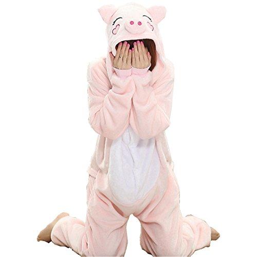 IFLIFE Kigurumi Pijamas Unisexo Adulto Traje Disfraz Adulto Animal Pyjamas S(para Altura:148-158cm), Cerdo Rosa