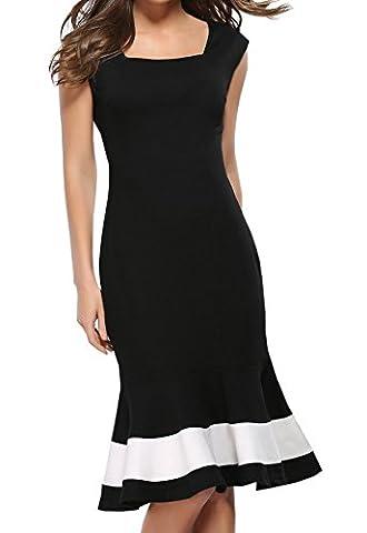 Damen Sommer Reizvolle Ärmellos Boot-Ausschnitt Schwarz Weiß Kontrastfarbe Fischschwanz Kleid Wickelkleider Minikleid Etuikleider Schrittrock Bleistiftrock Tunikakleid