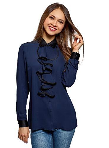 Oodji Collection Mujer Blusa Cuello Escarolado Acabado