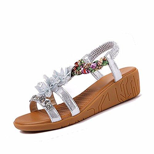 Gtvernh-4.5cm Sandales Argent Femme Muffin D'été Basse Pente Avec Des Chaussures Épaisses Avec Semelle Souple Comme Un Diamant Fond Chaussures Fleurs., 37 Quarante-et-un