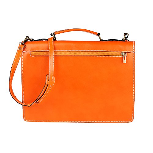 Unisex Aktenkoffer, Business Handtasche mit Schulterriemen, Laptophalter, aus echtem Leder Made in Italy Chicca Borse 38x27x7 Cm Orange