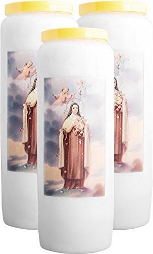 3X Bougie Neuvaine - Sainte Thérèse de Lisieux (s'illumine 9 Jours)