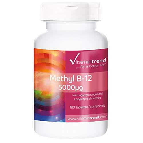 Methylcobalamin 5000mcg - Großpackung mit 180 Tabletten - ! FÜR 6 MONATE ! - vegan - hochdosiertes Vitamin B12