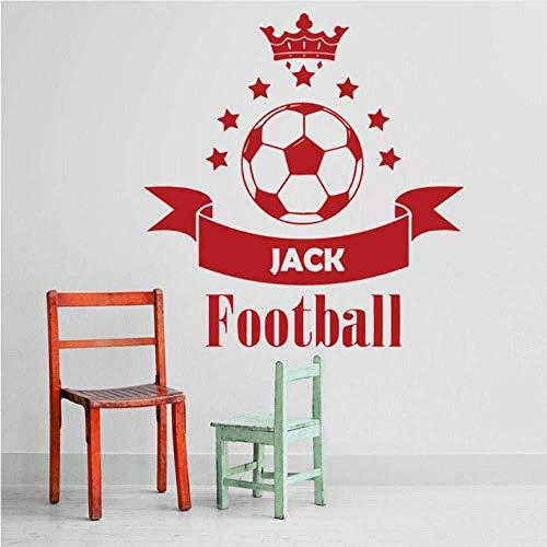Fußball Fußball Benutzerdefinierte Name Vinyl Wandaufkleber Aufkleber Jungen Schlafzimmer Crown Sterne Modern Home Interior Design Einfache Elegante 39X42 Cm