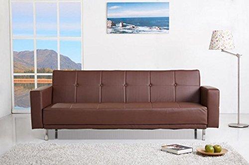 Luis Schlafcouch Kunstleder Schlaffunktion Sofa (Braun)