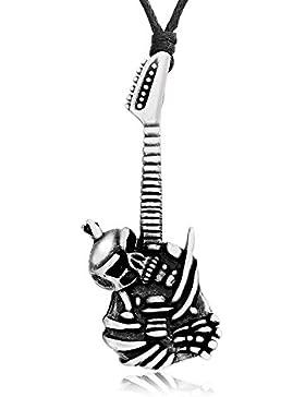 Llords Schmuck Gothic Punk Totenkopf Gitarre Anhänger Halskette, feinster Zinn Metall Modeschmuck