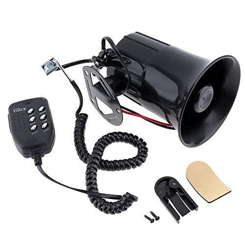 QHLJX Voiture Sirène Haut-Parleur, 6 Sonne Tone Voiture Camion Moto Corne 12V 100W 120DB Avertisseur électronique Strident d'alarme Haut-Parleur, Noir