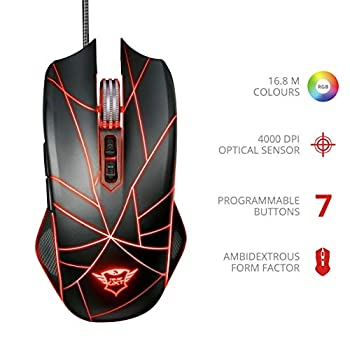 Trust Gaming GXT 160 Ture Mouse Gaming, Nero
