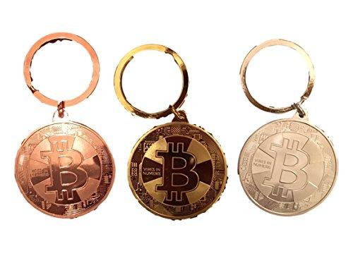 3er Set Physische Bitcoin BTC Münzen SCHLÜSSELANHÄNGER - Angreifbare Deko Münze - Gold Silber oder Bronze-Münze - AUSWÄHLBAR - Krypto Münzen Bitcoin Fan Zubehör - Schlüssel-Anhänger (3X Gold) -