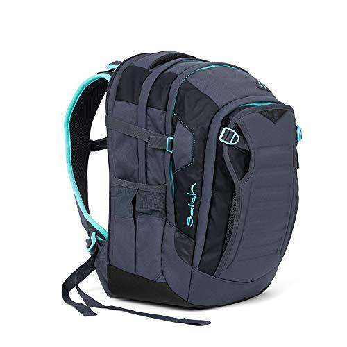 Satch Match Mint Phantom, ergonomischer Schulrucksack, erweiterbar auf 35 Liter, extra Fronttasche, Grau/Mint -