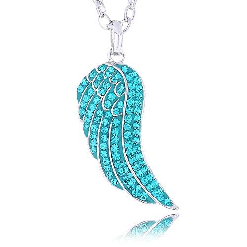 Morella Damen Halskette Engelsflügel mit Zirkoniasteinen türkis und Samtbeutel