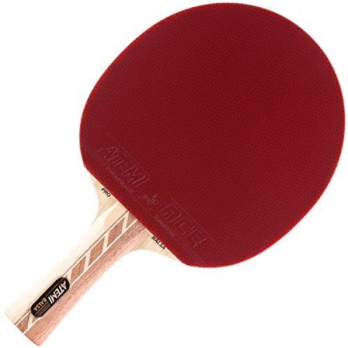 Atemi 4000 Tischtennisschläger (Balsaholz) Pro Offensive+ Ping Pong Schläger   Verbesserte Kontrolle, Geschwindigkeit, Rotation   Anfänger & Profis   5-Schichten, Wettkampf Belag (Konkav)
