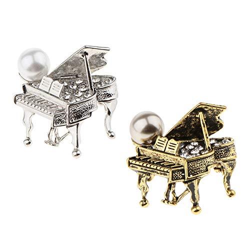 YDJGY Strass Musik Klavier Brosche Anstecknadel Hochzeit Schmuck Antik Messing Kleidung Dekoration (Klavier-musik-dekorationen)