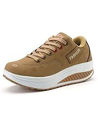 FHTDW Ladies Casual Scarpe Da Ginnastica Zeppe Platform Sneakers Lace Up Scarpe  Da Passeggio Fitness Shake af62ec63785