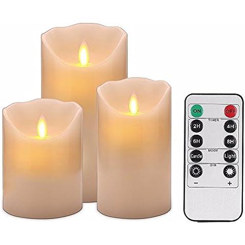 lukloy stoppino in movimento Set di 3candele a LED con telecomando, Fiamma Danzante candela pilastro LED velas per matrimonio, Natale,