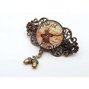 Kleine Hirsch Haarspange in braun bronze