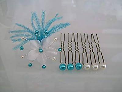 Lot Pics/Bijoux/Epingles/Pinces/Chignon Cheveux Accessoire p robe Mariée/Mariage/Soirée/Cérémonie/Coktail Bleu Turquoise/Blanc Fleur Plume (pas cher)