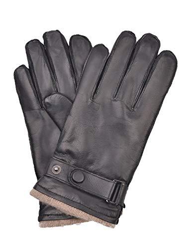 YISEVEN Guanti in pelle touchscreen uomini cachemire foderato vera pelle di pecora naturale per autunno inverno vestito caldo regali da lavoro moto guida, marro