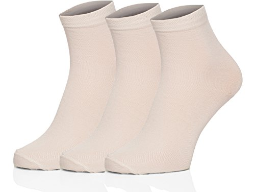 Merry Style 3 Pack Calcetines Casual Calcetines de Bambú para mujer 127 (Ecru, 35/37)
