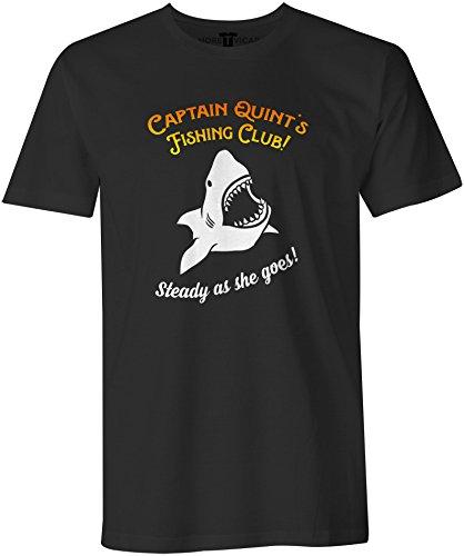Quints Fishing Club T Shirt - Herren 1970's retro Jaws Inspirierter Film T Shirt Schwarz