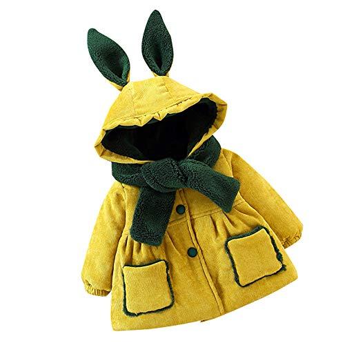 Goosuny Mädchen Jacke Hoodie Mantel Mit Kapuze Kinder Niedlich Cute Hasen Ohren Winter Wattierte Jacket Kleidung Dicke Warme Winterjacken Kapuzenpullover Kleidung (6-24 Monat)(Gelb,100)