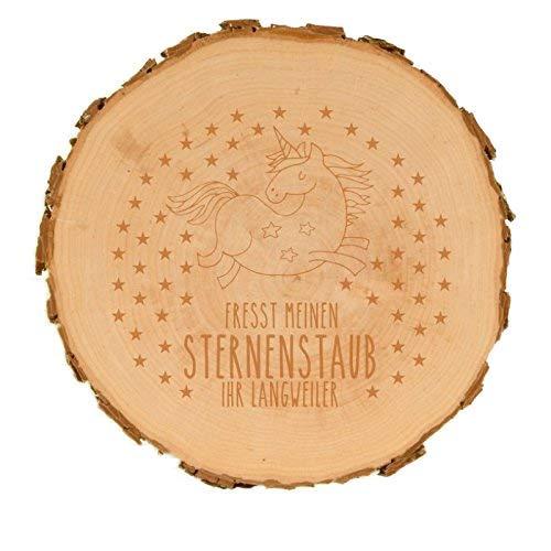 XXL Baumscheibe mit Einhorn-Motiv Fresst Meinen Sternenstaub Ihr Langweiler (27-31 cm) Holz Scheibe...
